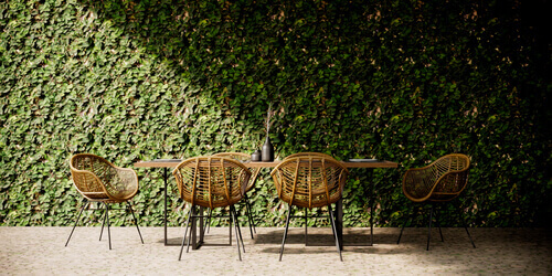 Black yard dining table rattan chairs