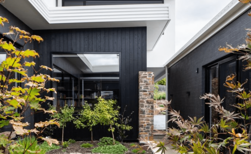 Burnt timber cladding  for exterior wall